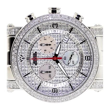 Womens Diamond Watch Aqua Master Round 1.75 ct Pave Dial
