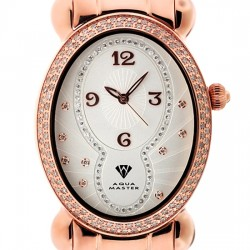 Aqua Master Oval 1.00 ct Diamond Womens Rose Watch