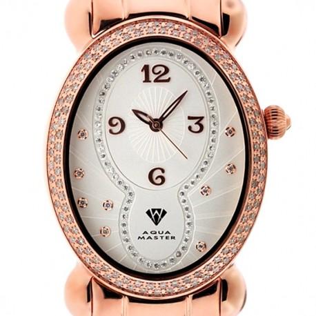 Aqua Master Oval 1.00 ct Diamond Womens Rose Watch
