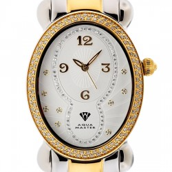 Aqua Master Oval 1.00 ct Diamond Womens Yellow Steel Watch