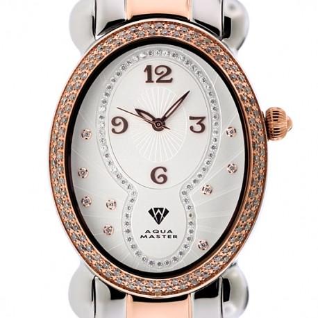 Aqua Master Oval 1.00 ct Diamond Womens Two Tone Watch