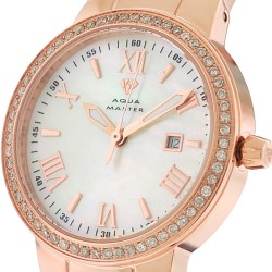 Womens Diamond Rose Gold Watch Aqua Master Round 0.70 Carat
