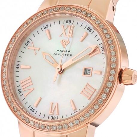 Womens Diamond Rose Gold Watch Aqua Master Round 0.70 Carat