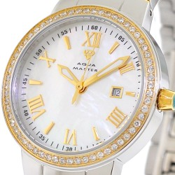 Womens Diamond Two Tone Gold Watch Aqua Master Round 0.70 ct