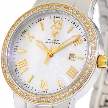 Womens Diamond Two Tone Gold Watch Aqua Master Round 0.70 ct