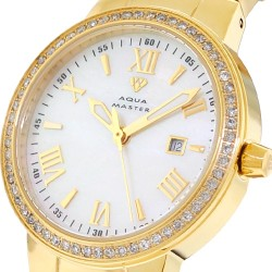 Womens Diamond Yellow Gold Watch Aqua Master Round 0.70 ct