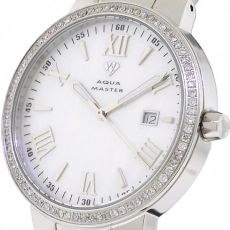 Mens Diamond Silver Watch Aqua Master Round 1.30 Carat