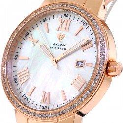 Mens Diamond Rose Gold Watch Aqua Master Round 1.30 Carat