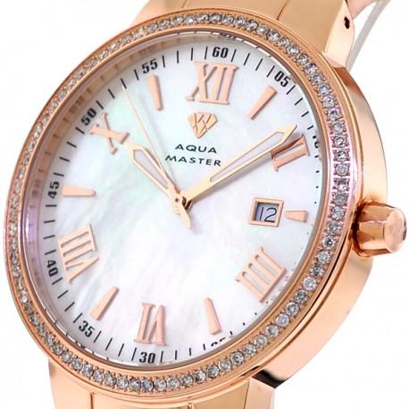 Mens Diamond Rose Gold Watch Aqua Master Round 1.30 Carat