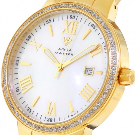 Mens Diamond Yellow Gold Watch Aqua Master Round 1.30 Carat