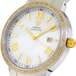 Mens Diamond Two Tone Watch Aqua Master Round 1.30 Carat