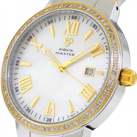 Mens Diamond Two Tone Watch Aqua Master Round 1.30 Carat