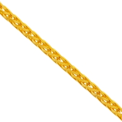 14K Yellow Gold Wheat Spiga Solid Link Mens Chain 2 mm