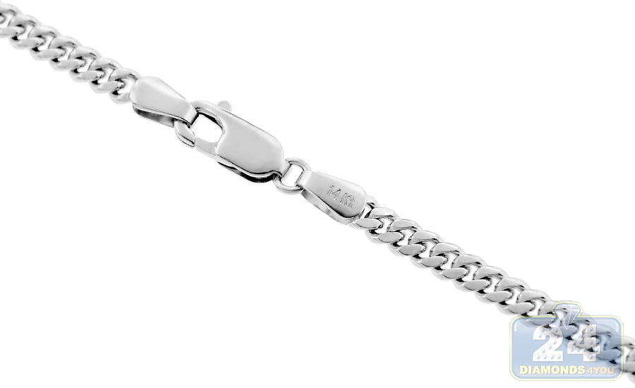 14k white gold miami cuban solid link mens chain 5 mm aloadofball Gallery