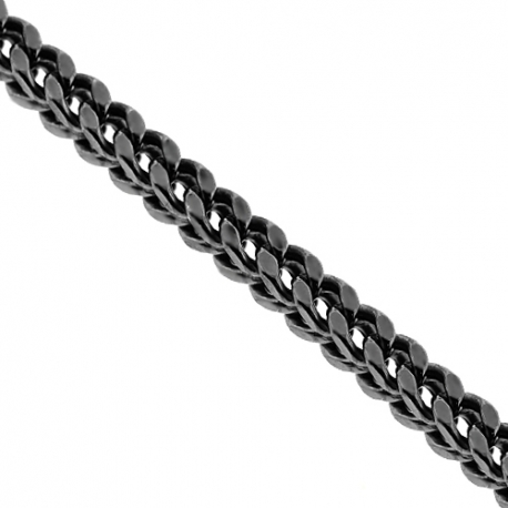 Black 925 Silver Hollow Franco Mens Chain 7 mm 24 26 28 30 inch