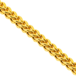 Yellow Sterling Silver Hollow Franco Mens Chain 7 mm