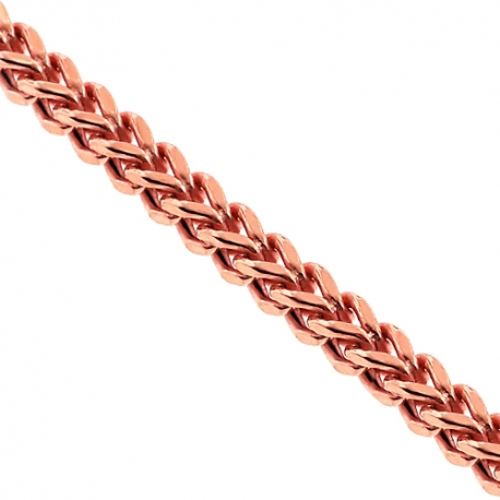 Rose Gold 925 Silver Hollow Franco Mens Chain 3 mm 24 26 28 inch