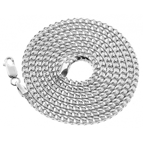 Italian 10K White Gold Solid Franco Mens Chain Necklace 3 mm