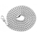 Italian 10K White Gold Solid Franco Mens Chain 3.5 mm