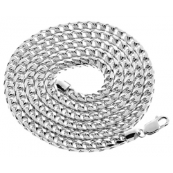 Italian 10K White Gold Solid Franco Mens Chain 4.5 mm