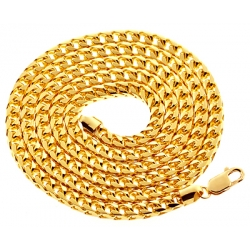 Italian 10K Yellow Gold Solid Franco Mens Chain Necklace 4.5 mm