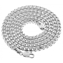 Italian 10K White Gold Solid Franco Mens Chain 5.5 mm 30 36 40""