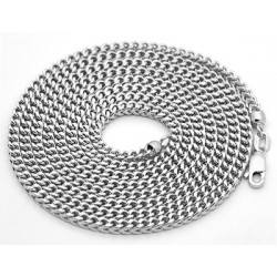 Italian 14K White Gold Hollow Franco Mens Chain 3 mm