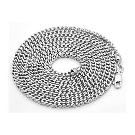 Italian 14K White Gold Hollow Franco Mens Chain Necklace 3mm