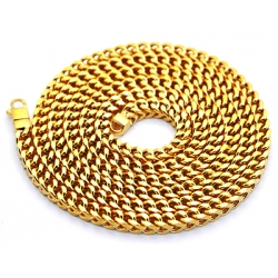 Italian 14K Yellow Gold Solid Franco Mens Chain 6.5 mm
