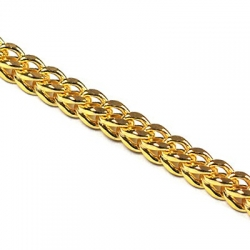 Italian 10K Yellow Gold Hollow Franco Mens Chain 3 mm