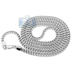 10K White Gold Hollow Franco Diamond Cut Mens Chain 4 mm