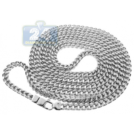 10K White Gold Hollow Franco Diamond Cut Mens Chain 5 mm
