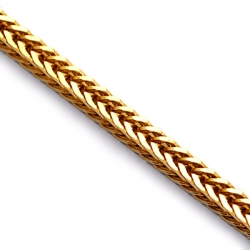 Italian 10K Yellow Gold Solid Franco Foxtail Mens Chain 2.5mm
