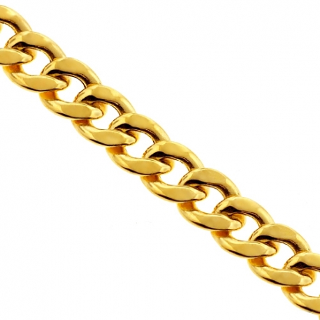 Italian 14K Yellow Gold Hollow Curb Link Mens Chain 8 mm
