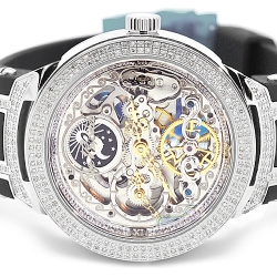 Mens Diamond Skeleton Watch Joe Rodeo Master JJM80 2.20 ct Silver