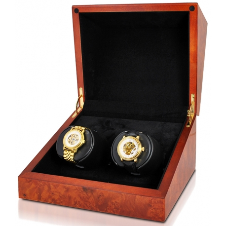 Double Watch Winder W07013 Orbita Sparta Deluxe 2 Burl Wood
