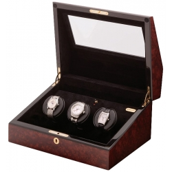 Triple Watch Winder W13022 Orbita Siena 3 Rotorwind Burl Wood