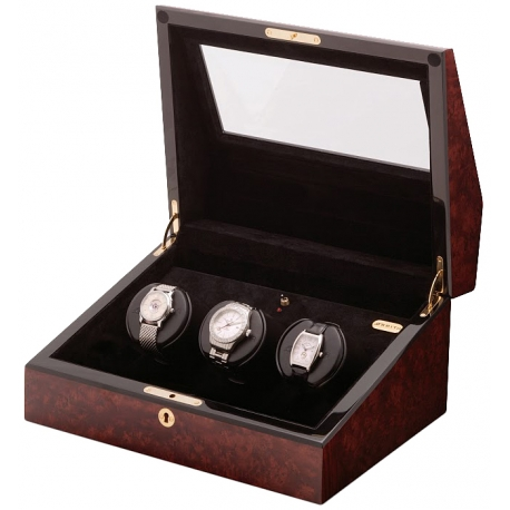 Triple Watch Winder W13001 Orbita Siena Programmable Burl Wood