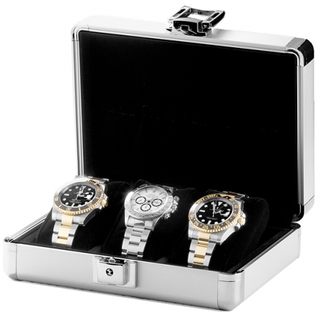Triple Watch Box Travel Case Orbita Lugano W81000 in Aluminum