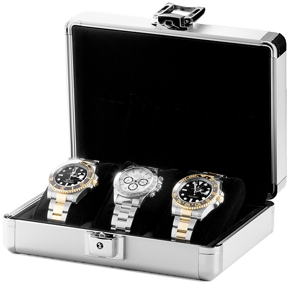Triple watch box travel storage case w81000 orbita lugano aluminum for Watches box