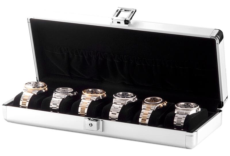 6 watch box travel storage case w81001 orbita lugano aluminum for Watches box