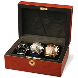 Triple Watch Display Box Orbita Zurigo W80000 in Teak Wood