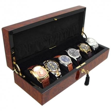 Six watch display box orbita zurigo w80011 in burl wood for Watches box