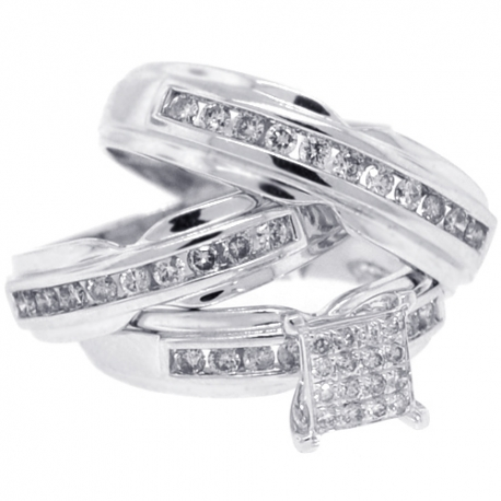 14K White Gold 1.34 ct Diamond Bride Groom Wedding 3-Ring Set