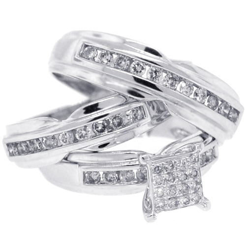 14k white gold 134 ct diamond bride groom wedding 3 ring set - White Gold Wedding Rings Sets
