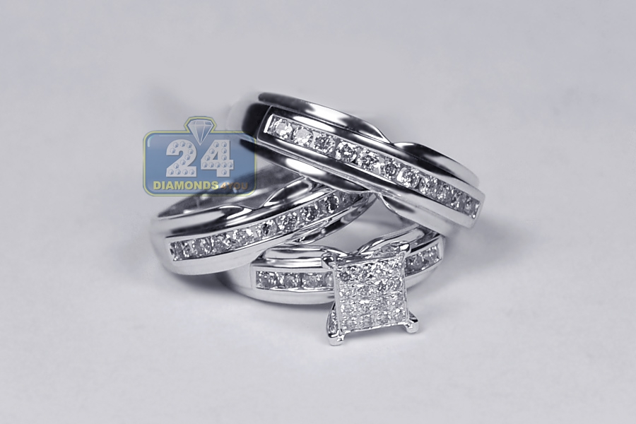 Bride Groom Diamond Wedding 3Ring Set 14K White Gold 134 ct