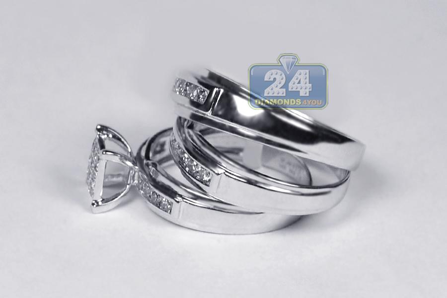 14K White Gold 134 Ct Diamond Bride Groom Wedding 3 Ring Set