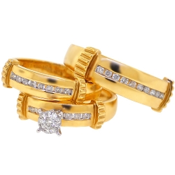 14K Yellow Gold 0.65 ct Diamond Mens Womens Bridal 3-Ring Set
