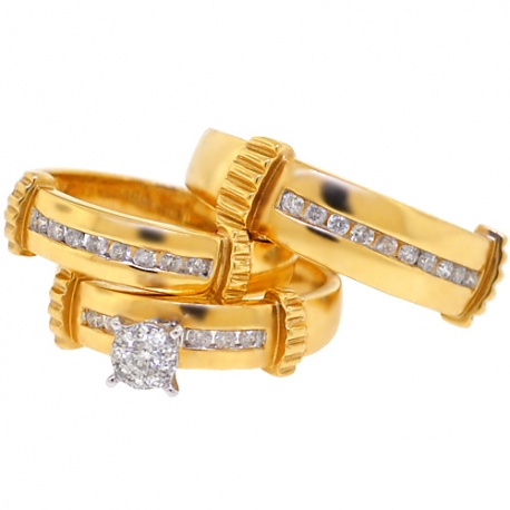 14K Yellow Gold 0.65 ct Diamond Mens Womens Bridal 3-Ring Set