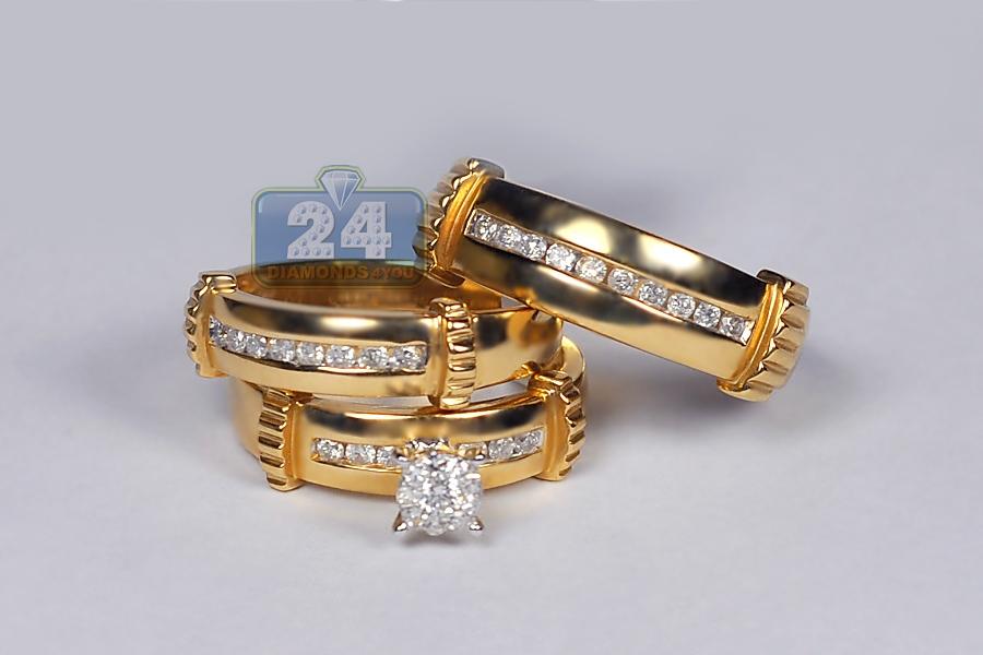 Mens Womens 0 65 Ct Diamond Bridal 3 Ring Set 14k Yellow Gold